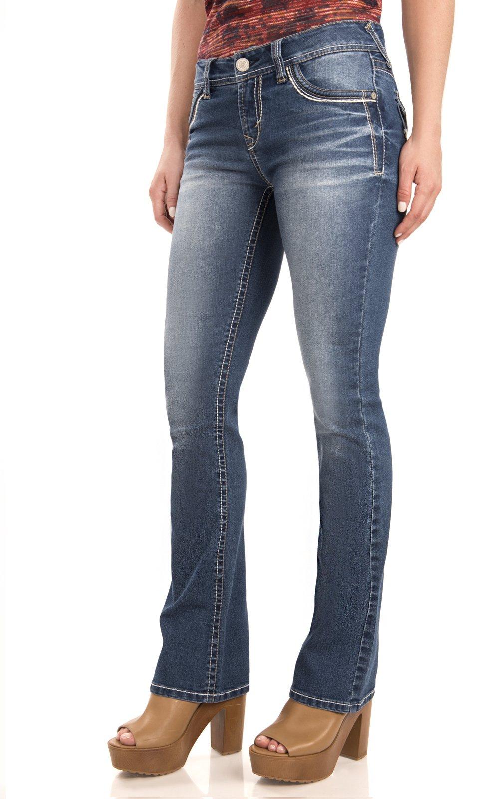WallFlower Women's Juniors Classic Legendary Stretch Bootcut Denim Jeans w/Back Flap Pocket