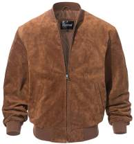 FLAVOR Men's Leather Baseball Bomber Jacket Vintage Suede Pigskin
