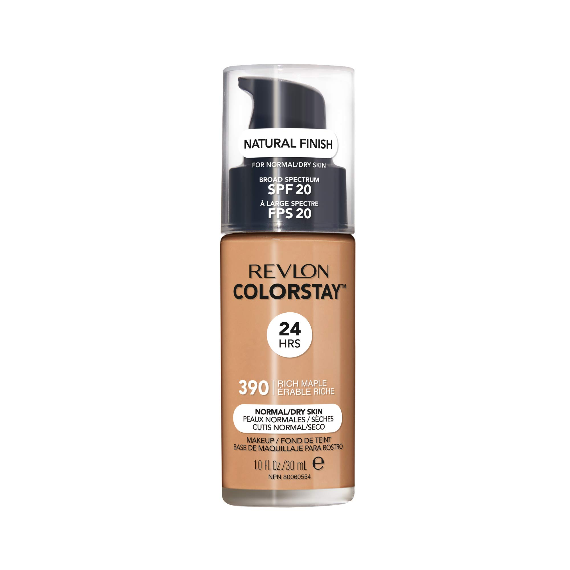 Revlon ColorStay Makeup for Normal/Dry Skin SPF 20, Longwear Liquid Foundation, with Medium-Full Coverage, Natural Finish, Oil Free, 390 Rich Maple, 1.0 oz