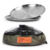 KissAir Reusable Brushed 18/8 Stainless Steel Round 9 Inch Plates Dish Set VintageEco Friendly Metal 304 Heavy Duty Kitchenware Feeding Dinner Dishes for Serving/Snack/Camping (2 PACK)