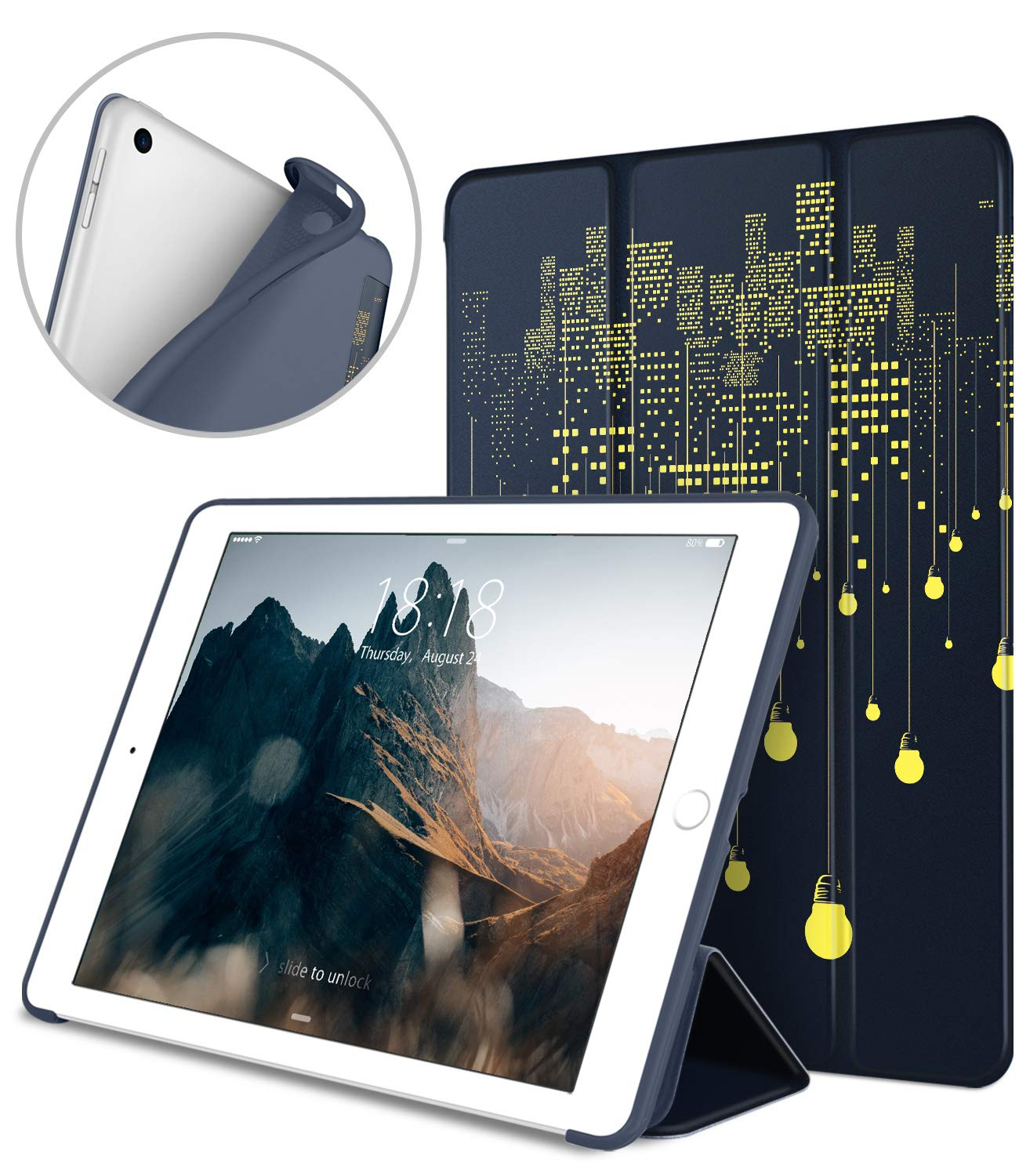 DTTO iPad 9.7 Case 2018 iPad 6th Generation Case/2017 iPad 5th Generation Case, Slim Fit Lightweight Smart Cover with Soft TPU Back Case for iPad 9.7 2018/2017 [Auto Sleep/Wake] - City Lights