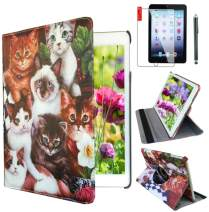 Ipad 2/3 / 4 Case 360 Degrees Rotating Stand Leather Magnetic Smart Cover Case for Ipad 2/3 / 4 Generation Case with Bonus Screen Protector, Stylus and Cleaning Cloth (Case for Cat Design)