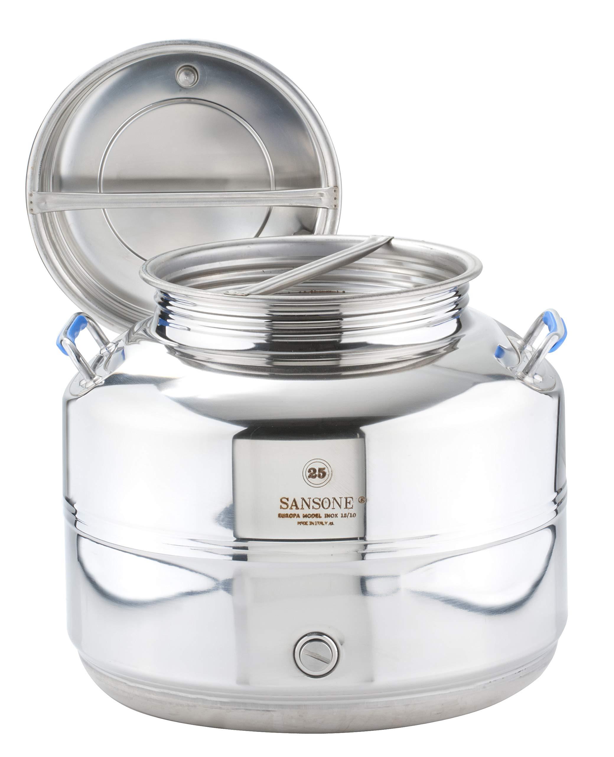 Sansone Stainless Steel Water Dispenser with Spigot, 6.6 gallon, 25 Liters, Silver