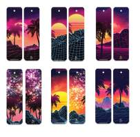 60pcs Creative Retrowave Art Pattern Bookmark (Retrowave) Bookmark Bulk, Bookmarks for Him/Her Best Gift for Give aways!