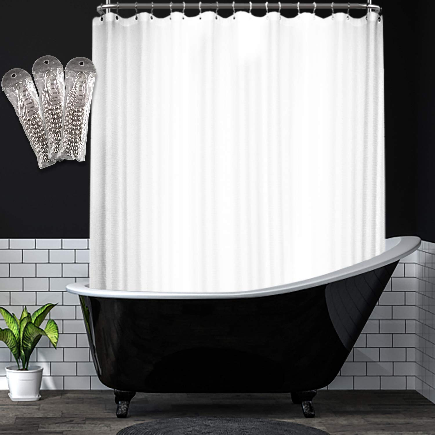 Barossa Design Waffle Weave Clawfoot Tub Shower Curtain 180 x 70 Inch Wrap Around - Heavyweight Fabric, Washable, Water Repellent, with 36 Hooks Set, White, 180x70