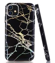 """BAISRKE iPhone 11 Case, Shiny Laser Style Holographic Marble Pattern Design Slim Bumper TPU Soft Rubber Shock Absorption Cover Phone Case for iPhone 11 6.1"""" 2019 - Black Marble"""