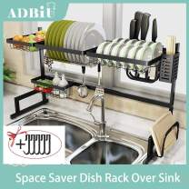 "Dish Rack Over Sink(32.5"") Adbiu Dish Drying Rack Kitchen Stainless Steel Over The Sink Shelf Storage Rack (Sink size ≤ 32.5 inch)(Black, 33.5X12.5X20.5inch)"