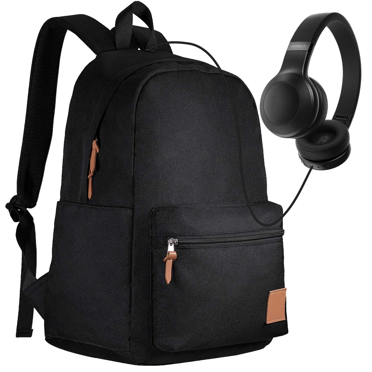 PICTEK Ultralight School Backpack with Headphone Port for Boy/Girl/University, 25L Laptop Backpack fits 15.6'' Laptops, Waterproof Backpack for College School Outdoor and Daily Use, Black