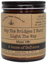 Malicious Women Candle Co - May The Bridges I Burn Light The Way, Exotic Hemp Infused with A Sense of Defiance, All-Natural Organic Soy Candle, 9 oz