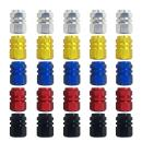 25 pcs Valve Stem Caps, FineGood Aluminum Alloy Tyre Valve Dust Caps for Car, Motorbike, Trucks, Bike, Bicycle for Prevent Air Leakage - Gold, Silver, Red, Blue, Black