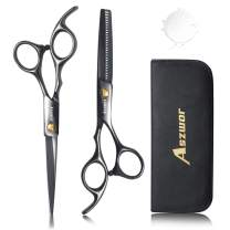 Hair Cutting Scissors Set- 4Pcs Home Salon Barber Kit by Aszwor Professional Hairdressing Scissors Kit(660C) Professional Barber/Salon/Home Shears Kit, Perfect for Men Women and Pet