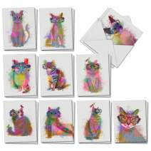 The Best Card Company - 20 Adorable Cat Greeting Cards (4 x 5.12 Inch) - Blank Assortment (10 Designs, 2 Each) - Funky Rainbow Cats AM6199OCB-B2x10