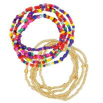 Waist Beads for Women, Colorful Belly Beads, Waist Chain, Elastic African Waist Bead Body Jewelry, 2 Pieces Set