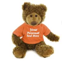 Plushland Adorable Frankie Bear 12 Inches, Stuffed Animal Personalized Gift - Great Present for Mothers Day Valentine Day Graduation Day Birthday Christmas - Custom Text on Hoodie (Orange)