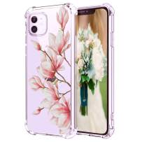 """Hepix iPhone 11 Clear Case Pink Magnolia Flowers 11 Phone Cases, Floral Clear iPhone 11 Cover with Protective Corner Bumpers, Slim Flexible Soft TPU Anti-Scratch Shockproof for iPhone 11 (2019) 6.1"""""""