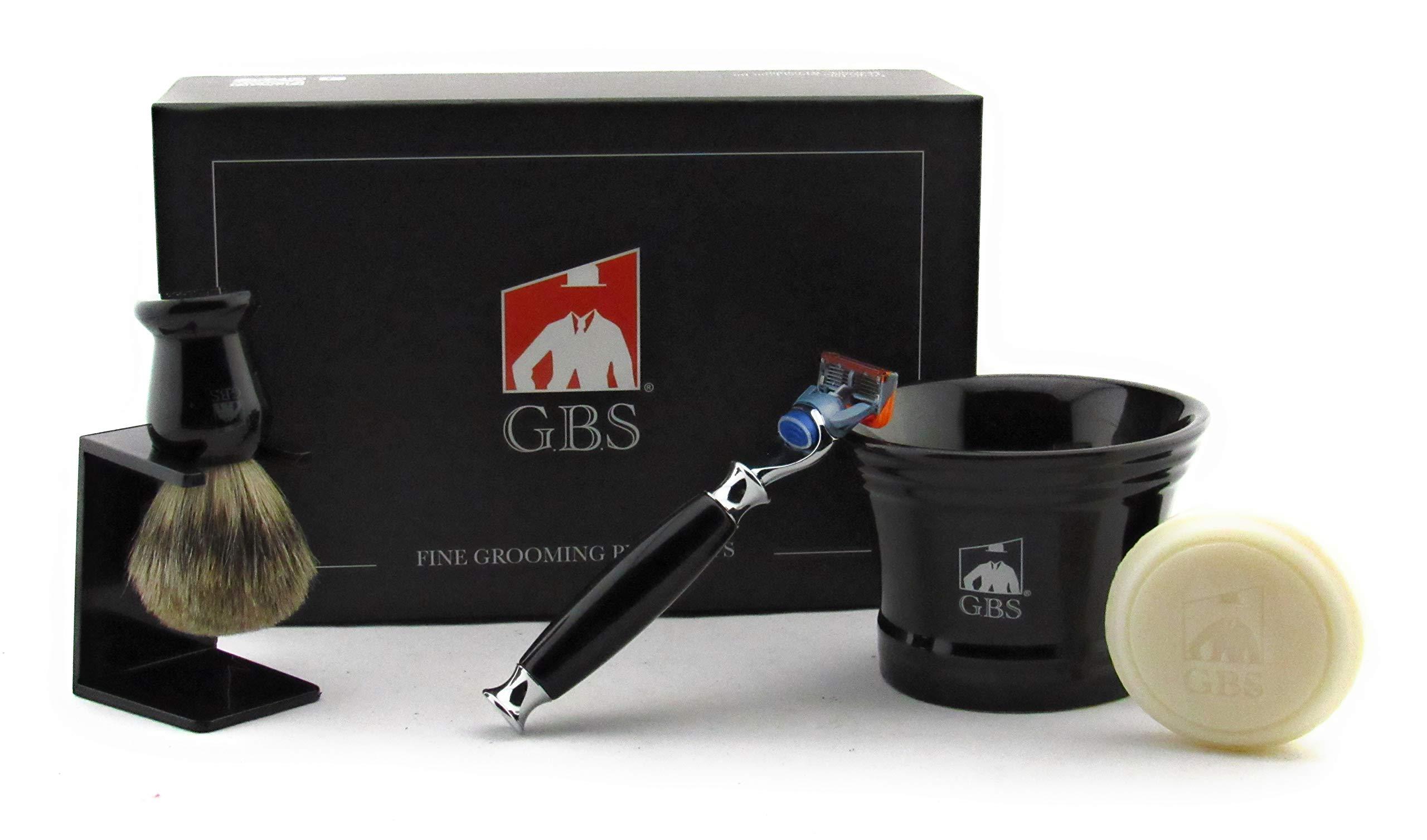 GBS 5 Blade Compatible Razor Shaving Set Gift Box - 5 Blade Razor, Ceramic Mug, Natural Soap, Pure Badger Brush + Stand - Old Fashioned Wet Shaving Experience (Black)