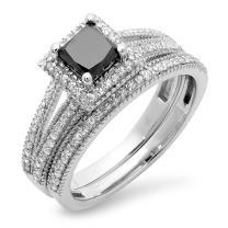 Dazzlingrock Collection 1.35 Carat (ctw) 14K Gold Princess Cut Black & Round White Diamond Split Shank Halo Engagement Ring Set