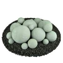 Ceramic Fire Balls | Mixed Set of 18 | Modern Accessory for Indoor and Outdoor Fire Pits or Fireplaces – Brushed Concrete Look | Pewter Gray