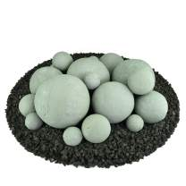 Ceramic Fire Balls   Mixed Set of 18   Modern Accessory for Indoor and Outdoor Fire Pits or Fireplaces – Brushed Concrete Look   Pewter Gray