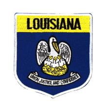 State Flag Shield Louisiana Patch Badge Travel USA Embroidered Iron On Applique