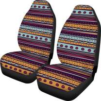 INSTANTARTS 2 PCS/Set Boho Striped Aztec Car Seat Covers,High Back Bucket Front Auto Seats Cushion
