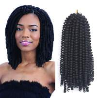 Eerya Afro Spring Twist Crochet Braids 3 Pack Bomb Mini Passion Twists Crochet Hair Ombre Colors Synthetic Jamaican Bounce Short Fluffy Hair Extension 8Inch (1B#)