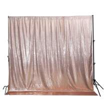 Poise3EHome 4FtX7Ft Not See Through Sequin Photography Backdrop Glittery Thick Satin Wedding Party Sequin Curtain, Champagne Satin