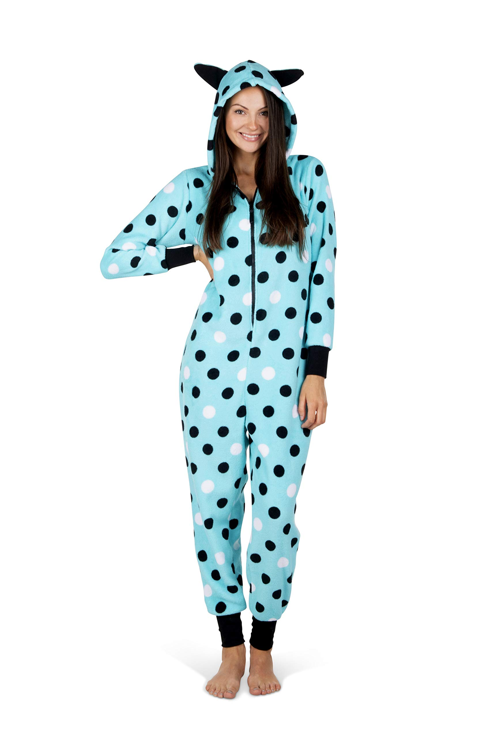 Totally Pink Women's Warm and Cozy Plush Adult Onesies for Women One-Piece Novelty Pajamas (XX-Large, Blue/Polka Dot)