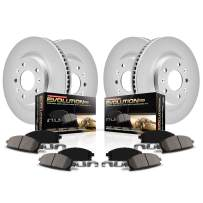 Power Stop CRK2718 Coated Brake Rotor and Ceramic Brake Pads- Front & Rear