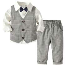 Betusline Baby & Little Boys' Tuxedo Dress Shirt + Vest + Pants Set, 12 Month - 6 Years