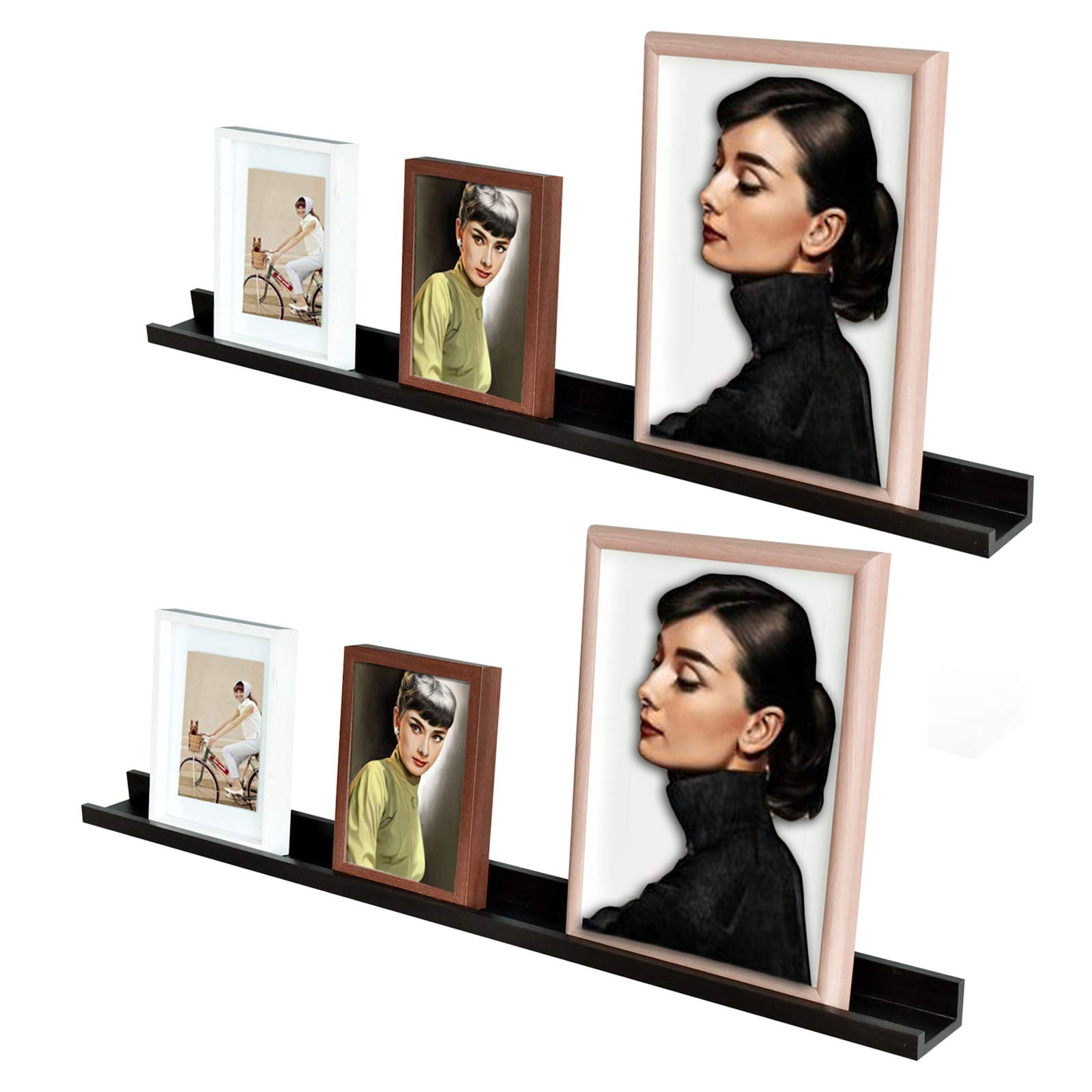 RANK Modern Photo Ledge Floating Shelves Wall Mounted Picture Frames Display Floating Shelf (Espresso, 2 x 48 inch)