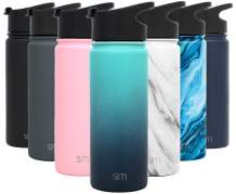 Simple Modern 18 Ounce Summit Sports Water Bottle - Travel Mug Stainless Steel Tumbler Flask +2 Lids - Wide Mouth Double Wall Vacuum Insulated Leakproof Ombre: Bermuda Deep