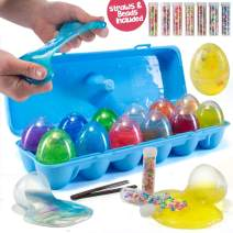 Prextex 12 Slime Filled Easter Eggs for Easter Hunts, Stress Relief and Party Favors - 12 Non-Sticky Assorted Color Fluffy Putty Slime Eggs with Beads and Straws – Great Easter Gift and Basket Stuffer