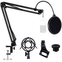 """ZHMM Microphone Stand Adjustable Suspension Boom Scissor Arm Stand with Pop Filter Shock Mount Mic Clip and 3/8""""to 5/8"""" Screw Adapter, Mic Boom Arm Compatible for Blue Yeti and Microphones"""