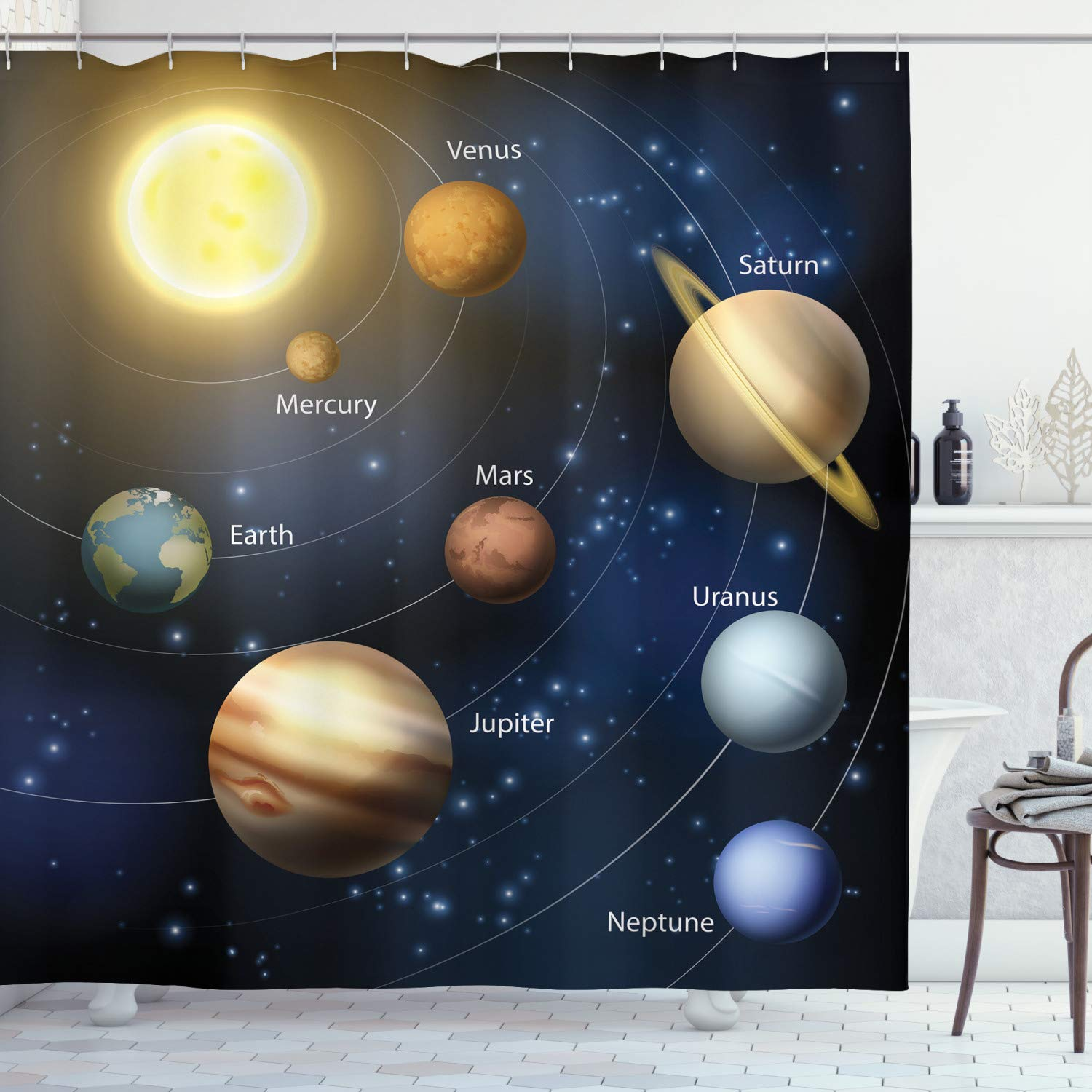 """Ambesonne Educational Shower Curtain, Realistic Illustration of Solar System Sun Planets Orbit Astronomy Outer Space, Cloth Fabric Bathroom Decor Set with Hooks, 75"""" Long, Yellow Black"""