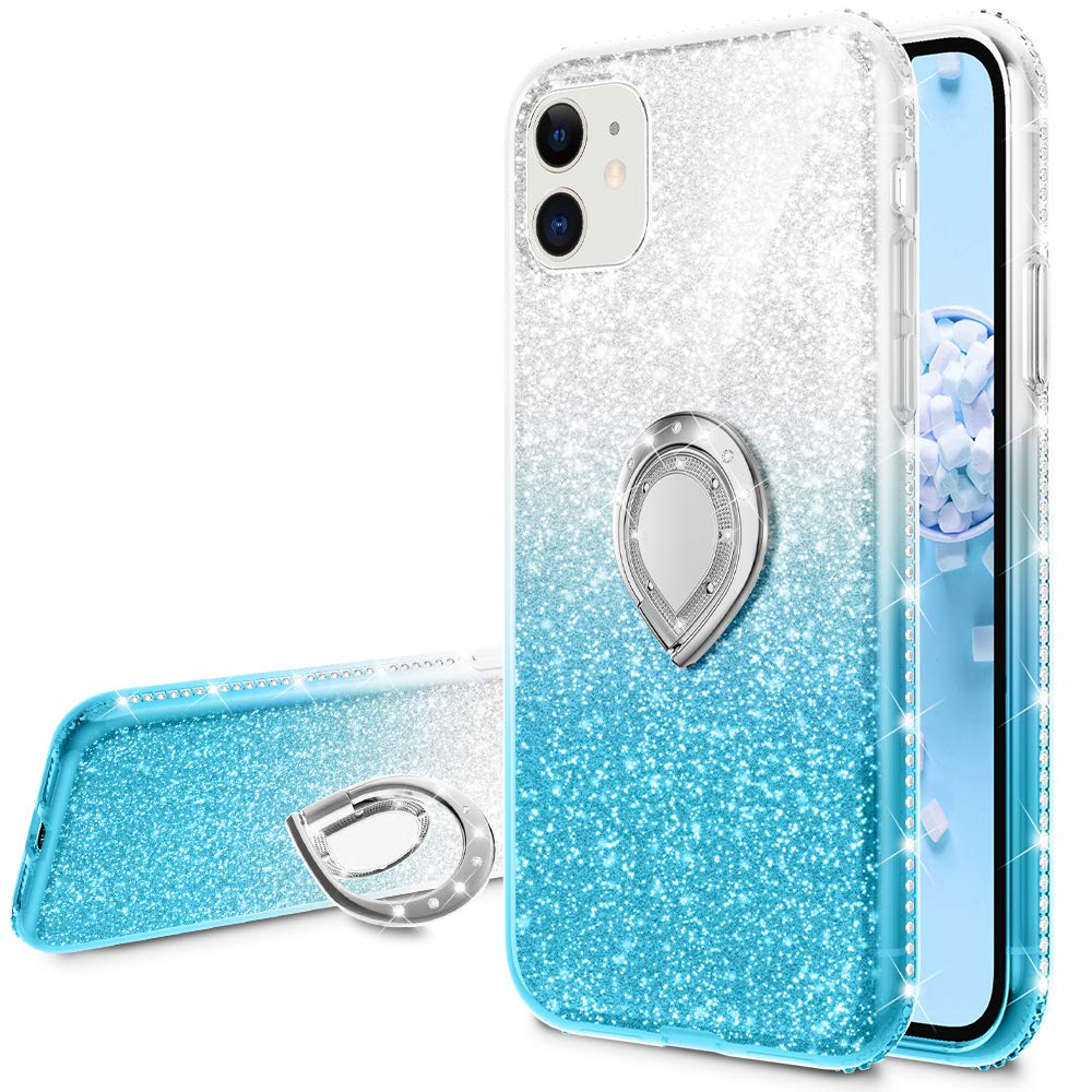 VEGO Glitter Case Compatible for iPhone 11 Case, Gradient Ombre Ring Holder Kickstand Bling Diamond Rhinestone Sparkly Women Girls Case Compatible for iPhone 11 Case Cute 6.1 inch(Silver Teal)