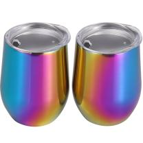 Skylety 12 oz Double-insulated Stemless Glass, Stainless Steel Tumbler Cup with Lids for Wine, Coffee, Drinks, Champagne, Cocktails, 2 Pieces (Colored Rainbow)