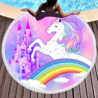 Bonsai Tree Unicorn Beach Towel, Cute Rainbow Large Round Beach Towel with Tassels, Pink Magic Castle Beach Blanket Sand Proof Oversized Gifts for Girls 59""