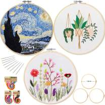 Embroidery Kit for Beginners Funny - 3 Sets Cross Stitch Kits Beginner with 3 Embroidery Patterns/Hoops Kits/Embroidery Thread and Tools for Beginners Adults Kids (Flowers, Green Plants, Starry Night)