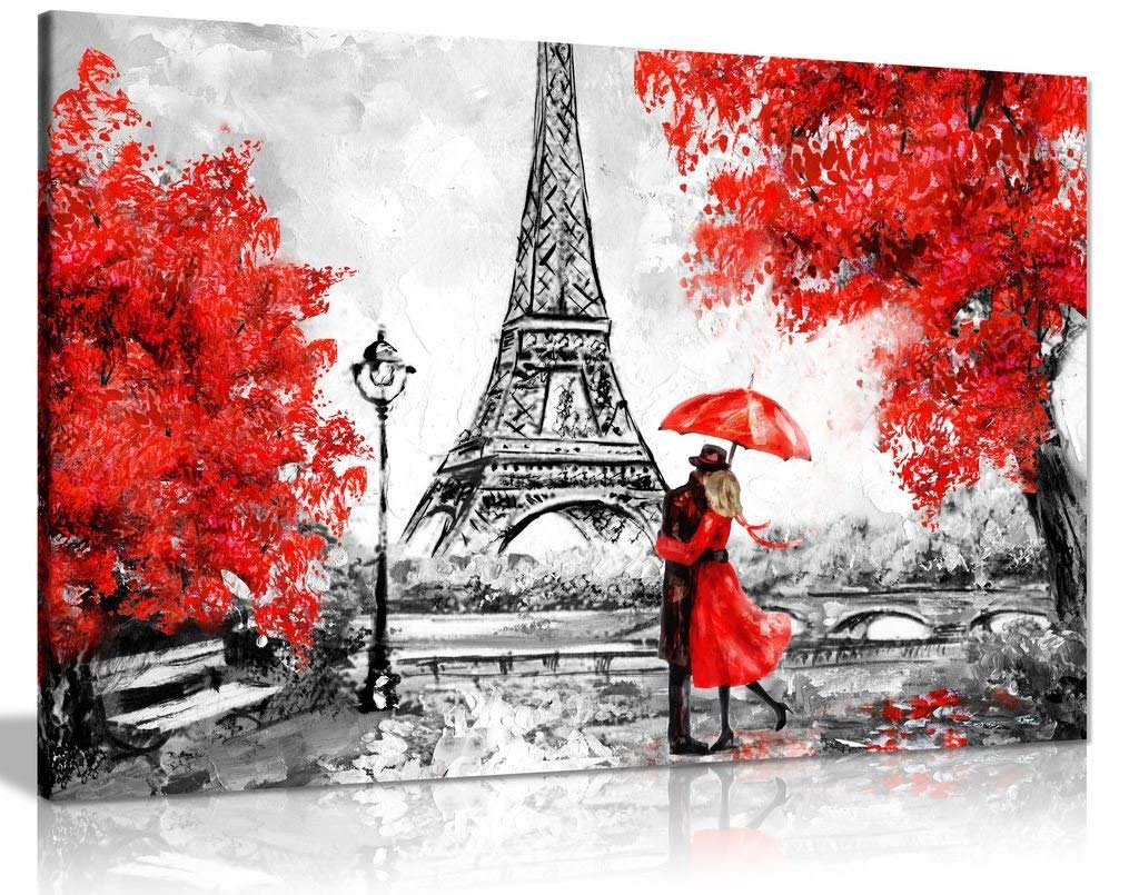 Paris Oil Painting Reproduction Eiffel Tower Red Umbrella Canvas Wall Art Picture Print (30x20)