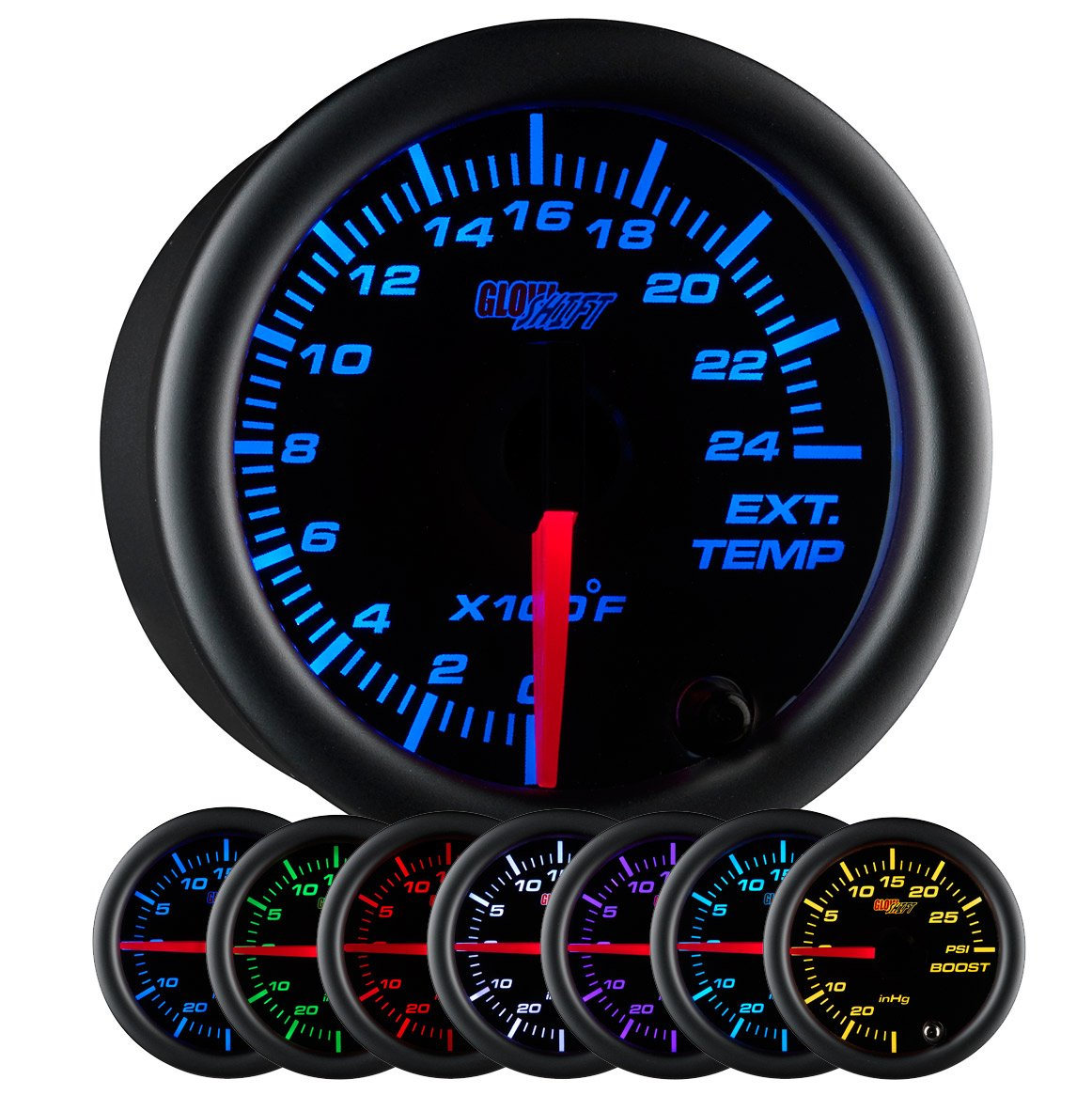 """GlowShift Black 7 Color 2400 F Pyrometer Exhaust Gas Temperature EGT Gauge Kit - Includes Type K Probe - Black Dial - Clear Lens - for Car & Truck - 2-1/16"""" 52mm"""
