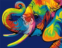 Komking DIY Oil Painting Paint by Numbers Kit for Adults Kids Beginner, Colorful Animals Painting on Canvas 16x20inch - Colorful Elephant
