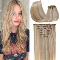 [Limited Coupon]LaaVoo 7pcs Clip in Hair Extensions Double Weft Clip in Hair Full Head Remy Clip in Extensions Highlight Ash Blonde Mixed Bleach Blonde Clip in Hair 16inch 100g+20g clips
