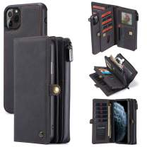Wallet Case iPhone 11/11 Pro/ 11 Pro Max [2 in 1] Magnetic Detachable Leather Folio Card Pockets Clutch Case Flip Cover