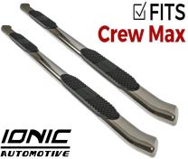 """Ionic 'Pro' Series 4"""" Stainless Curved (fits) 2007-2018 Toyota Tundra CrewMax Only Nerf Bar Truck Side Steps (2441300)"""