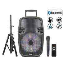 STARQUEEN 15Inch Portable Bluetooth Speaker, Outdoor Rechargeable PA System with Wireless Microphone/Remote/Wheels/DJ Lights/Stand, Big Karaoke Party Amplifier Sound System with AUX/FM Radio/SD/USB