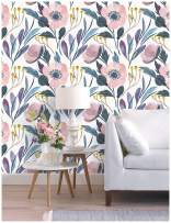 """HaokHome 93019-1 Watercolor Peony Floral Peel and Stick Wallpaper Removable Multi-Color Vinyl Self Adhesive Contact Paper Decorative 17.7""""x 9.8ft"""