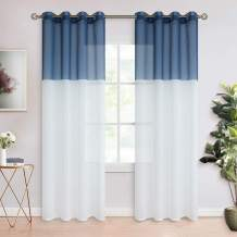 BGment Color Block Sheer Curtains for Living Room - Faux Linen Grommet Light Filtering Semi Sheer Window Curtain Panels for Bedroom, Set of 2 Panels ( Each 52 x 84 Inch, Navy Blue )
