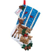Bucilla 18-Inch Christmas Stocking Felt Applique Kit, Deer Family
