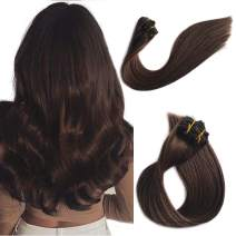 Hair Extensions Clip in Real Remy Human Hair Extensions Clip on for White/Black Women Medium Brown Double Weft Full Head Glueless Natural Soft Silky Straight 70g 7pcs 16 Clips 20 Inch